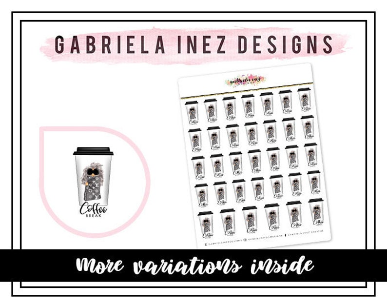 Coffee Break Cup w/ Diva Planner Stickers  Perfect for Erin image 0