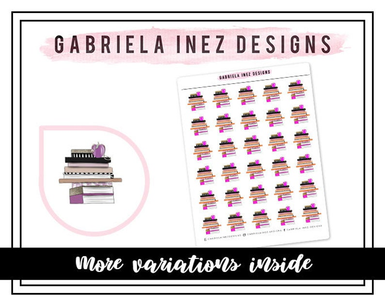 Book Stack Planner Stickers Perfect for Erin Condren Life image 0