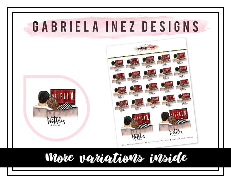 Netflix & Chill Planner Stickers  Perfect for your Erin image 0
