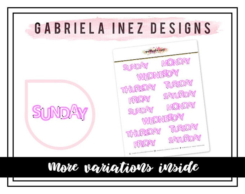 Weekday Neon Lights Planner Stickers  Perfect for your Erin image 0
