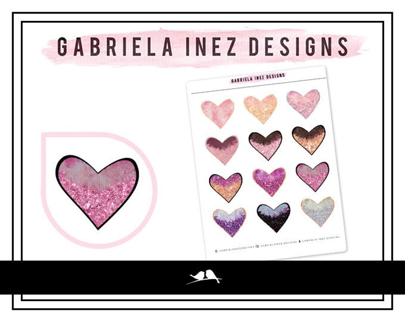 Glittered Hearts Planner Stickers  Perfect for Erin Condren image 0