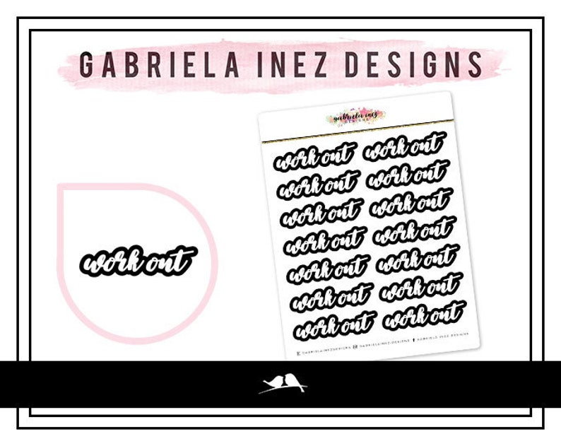 Work Out Blocked Text Planner Stickers  Perfect for your Erin image 0