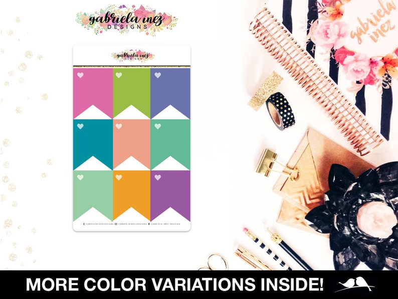 Full Box Flags Planner Stickers  Perfect for your Erin image 0