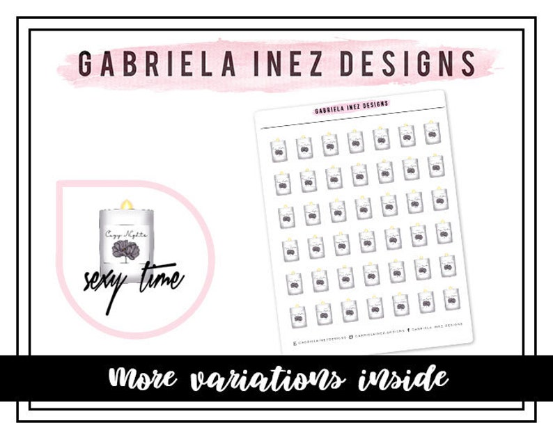 Sexy Time Candle Planner Stickers Perfect for Erin Condren image 0