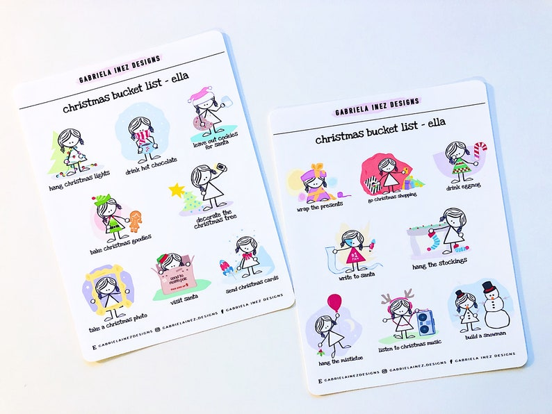 Christmas Bucket List Planner Stickers  Perfect for your Erin image 0