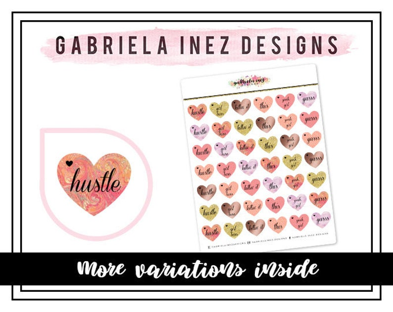 Heart Positive Vibes Planner Stickers  Perfect for your Erin image 0