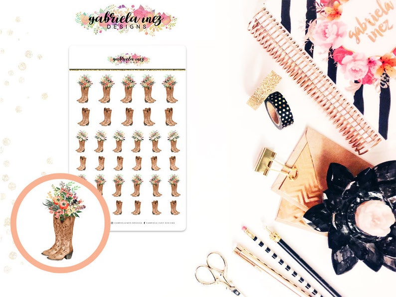 Cowboy Boots/Farmhouse Planner Stickers  Perfect for your image 0