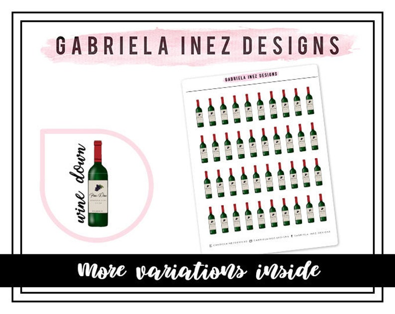 Wine Down Wine Bottle Planner Stickers  Perfect for Erin image 0