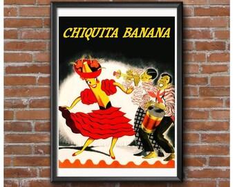 Chiquita Banana Poster – 1950's Banana Dance Craze Carmen Miranda Style