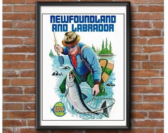 Newfoundland and Labrador Promotional Poster-Canada's Happy Province-Fishing