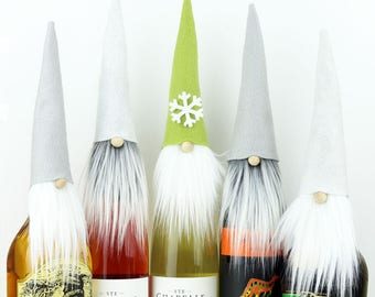 Gnomes, FIVE Wine Bottle Toppers, VIKTOR Nordic Gnome, Wine Gifts, Gnome Toppers, Santa, Gnomes, Wine Cozy, Liquor Gifts, Party Favors