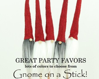 Gnomes, 5 Nordic GNOMES on a STICK, Nordic Gnome, Packaging, Gift Wrap, Party Favors Scandinavian Gnome, Party, Tomte, Nisse, Christmas Wrap