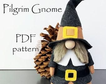 Thanksgiving PILGRIM Gnome PDF Sewing Pattern, Gnomes, pdf Nisse Tomte Patterns, Pilgrim Gnome DIY Patterns, Thanksgiving diy decorations