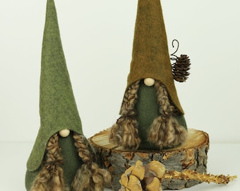 Nordic Girl Gnomes, HADDNA, Scandinavian Gnomes, Nisse, Tomte, Girl Gnomes, Forest Woodland Gnomes, Rustic Nordic Gnomes, Gnomes Pigtails