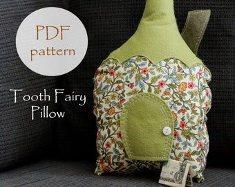 Tooth Fairy HOUSE Pillow Pattern, DIY Waldorf Pattern, Tooth Fairy Fabric Houses, Peg Doll, PDF Sewing Pattern, Kids Pillow Pattern, Gnomes
