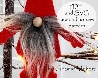 PDF SVG Gnome Shape, Gnome Felt Shapes, Gnome Banner Shape, DIY Kids Crafts, Gnome Garland, Holiday Shape, Santa Shape, Gnome Ornament Shape