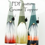 Gnome Bottle Topper PDF PATTERN, DIY Christmas Gifts, Gnome Patterns, Sewing Pattern, Wine Cozy, Liquor Party Gift, Wine Topper, Gnomes