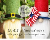 Fourth of July Gnomes, PATRIOTIC and Leprechaun pdf Gnome Pattern, St Patricks Day Gnome Patterns, Irish Leprechauns Gnome Pattern, Gnomes,