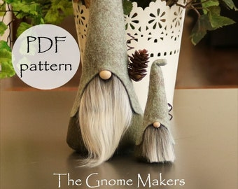 NORDIC Gnomes PDF Sewing Pattern in Two Sizes, Nisse Tomte Patterns, Scandinavian Gnome PDF, Gnome Sewing Patterns, Hand-stitched Gnomes