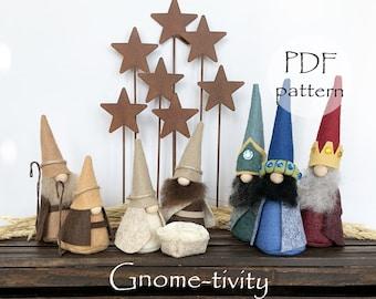GNOME-TIVITY PDF Sewing Pattern, Nativity Gnome Pattern, Gnome Christmas Sewing Patterns, Hand-stitched Gnomes, Christmas pdf Gnome Patterns