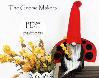Gnome PDF Sewing Pattern, Bee Dragonfly Ladybug, Gnome Patterns, Gnome Kitchen Decor, BUG Gnomes Patterns, pdf Summer Gnome Patterns, Sewing