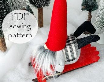 SLEDDING Gnome PDF Sewing Pattern, Nisse Tomte Patterns, Gnome Sewing Pattern, Cloth Doll Pattern, Gnomes, Christmas Gnomes, Snow, Gnomes