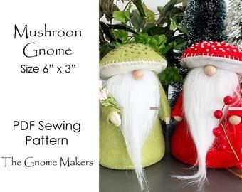 MUSHROOM Gnome PDF Pattern, Gnome Tutorial, Mushrooms, Cloth Doll Sewing Patterns, Gnome Pattern, Gnome Sewing Patterns, Mushroom Pattern