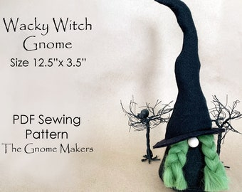 Halloween WACKY WITCH Gnome PDF Sewing Patterns, Gnomes, Halloween Gnomes, pdf Witch Patterns, diy Halloween Decorations, Gnome Patterns