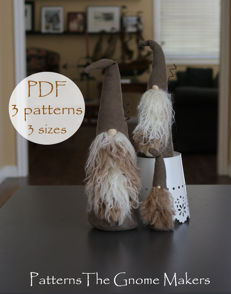 PDF Gnome Patterns Gnome Patterns 3 SIZES DIY Gnome image 0
