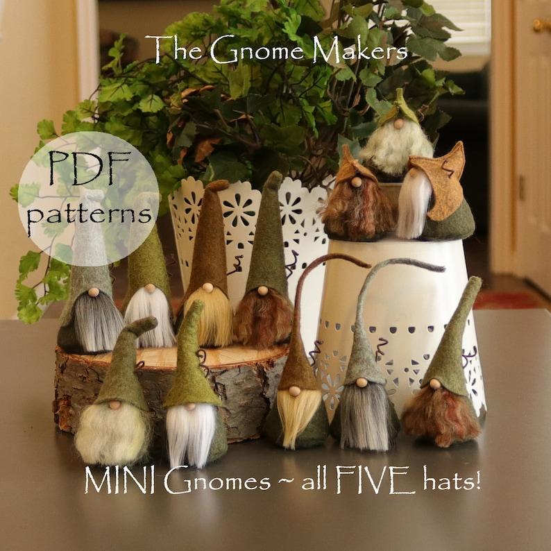 5 MINI Gnome PDF Sewing Patterns Five Different Hats Gnome image 0