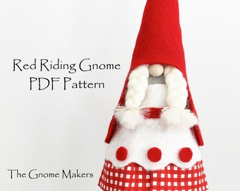 Gnome Sewing Pattern RED RIDING Gnome and WOLF, pdf Gnome Pattern, Gnome Tutorial, Little Red Riding, Gnome Sewing, Gnomes,Embroidery