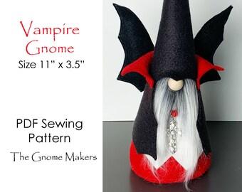 Halloween VAMPIRE Gnome PDF Sewing Pattern, Halloween Gnomes, Vampire Bat Patterns, Gnome Patterns, Hand-stitched Gnomes, Halloween Decor