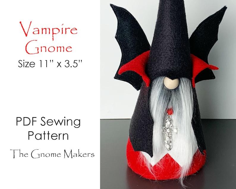 Halloween VAMPIRE Gnome PDF Sewing Pattern Halloween Gnomes image 0