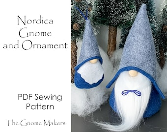 NORDICA Gnome and Ornament PDF Sewing Pattern, Nisse Tomte Patterns, Gnome Sewing Pattern, Gnome Decor, Christmas Gnomes, Holiday Patterns