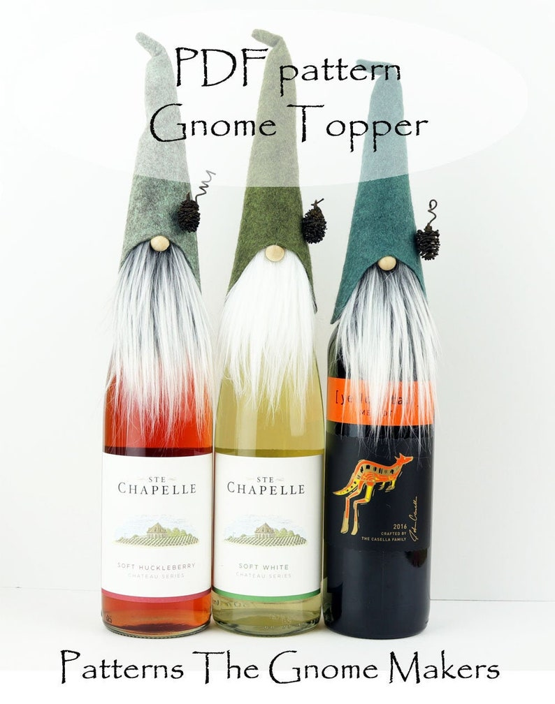 Gnome Bottle Topper PDF PATTERN DIY Christmas Gifts Gnome image 0