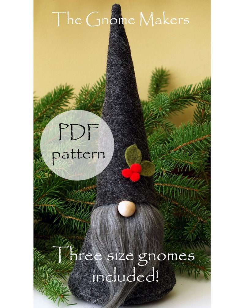 CHRISTMAS Gnome PDF Pattern 3 Sizes Cloth Doll Sewing image 1