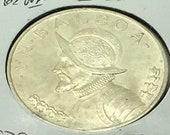 Panama 1947 Balboa Silver Coin Crown Size World Coin KM 13 Vasco Nunez De Balboa 900 Silver