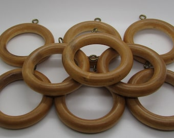 Wooden Curtain Rings Drapes Rod Window Drapery Wood Metal Hook Mid Century Light Brown Urban Cabin Cottage Lot Of 9