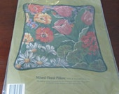 Something Special Needlepoint Kit Mixed Floral Pillow 30652 Candamar 14 quot x 14 quot 100 Cotton Canvas Colourful
