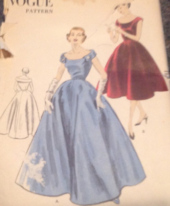 Vogue 40 Sewing Pattern 40 40s Off Shoulder Fit Flare Full Etsy Simple Full Skirt Pattern