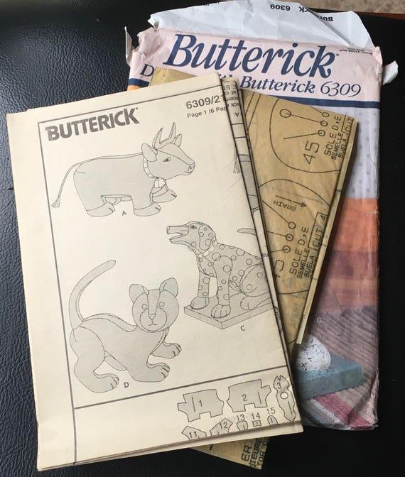 Butterick Nähen Muster 6309 Hund Katze Kuh ausgestopfte Tiere | Etsy