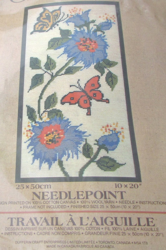 Creatique Needlepoint 2226302 Needlepoint Kit Jacobean Ladder Floral Flowers Butterfly 10 x 20  Made In Canada 100 /%  Canvas Wool Yarn Natu