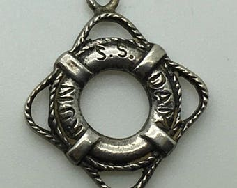 Lifesaver Sterling Silver Charm Lifeguard Lifebuoy Nautical Water Sports Safety Charm For Bracelet 3 D Vintage