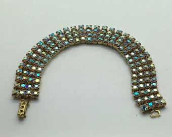 Vintage   Auora Borealis AB Rhinestone Bracelet 4 Tiers Rows Art Deco Style Statement Bracelet  Set in Gold  Tone Sparkly Wedding Bridal