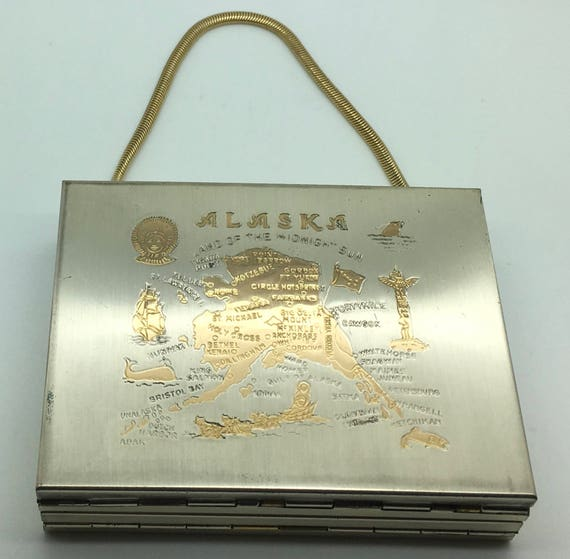 Compact State Map.Vintage Alaska State Map Compact Powder Carry All Case Purse Etsy