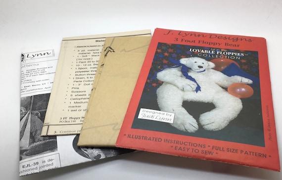 J Lynn Designs 3 Foot Floppy Bear Teddy Bear Lovable Floppies Collection Sewing Pattern  36 Inch Stuffed Animal Stuffed Toy  FB28 32327