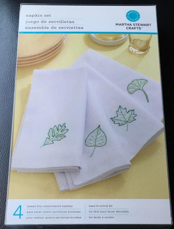 Martha Stewart Crafts Napkin Set Four Embroidered Napkins Leaf Etsy