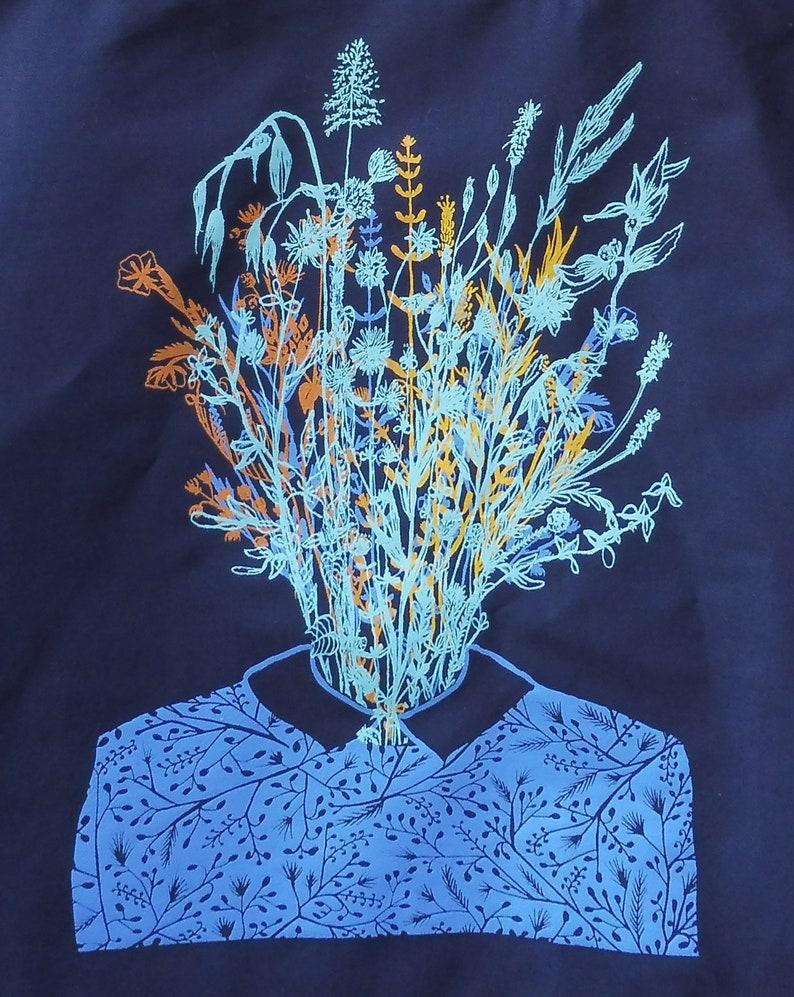 Madame Fleurs printed in handcrafted silkscreen Tote Bag bleu