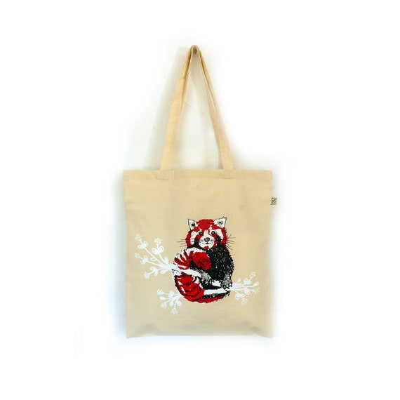 Tote Bag screen printed ecru Panda Roux