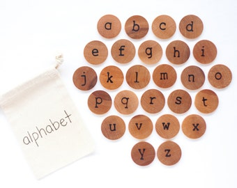 Wood Alphabet Discs / Lowercase Alphabet / Alphabet Flash Cards / Montessori Alphabet / Homeschool Preschool Kindergarten Spelling